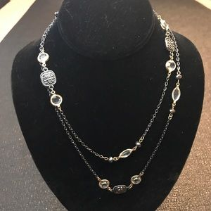 Silver Beaded & Rhinestone Strand Necklace